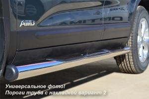 Mitsubishi Pajero Sport 2010  пороги труба d76 с накладками (вариант 2) PST-0009252